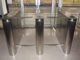 China Stainless Steel Waist Height Drop Arm Turnstile For Magnetic Traffic Prompt supplier